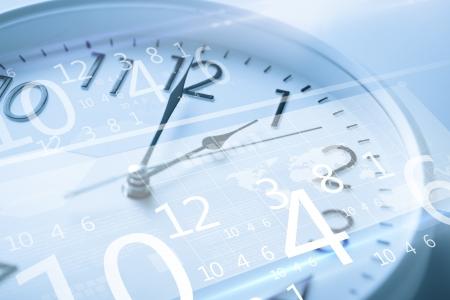 Photo pour future technology and time management concept - clock and virtual screen - image libre de droit
