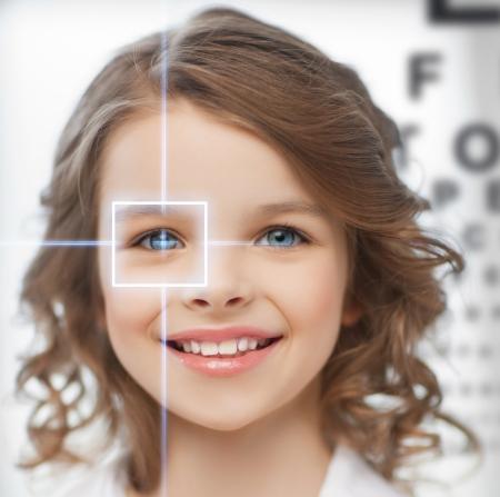 Foto de future technology, medicine and vision concept - cute girl with eye chart - Imagen libre de derechos