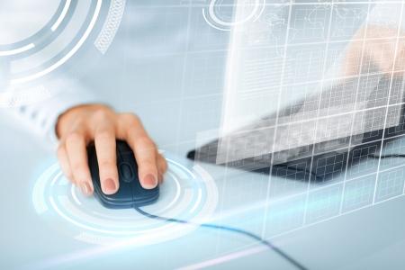 Foto de business, office, school and education concept - woman hands with keyboard and mouse - Imagen libre de derechos