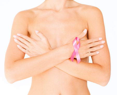 Photo pour health, medicine, beauty concept - naked woman with breast cancer awareness ribbon - image libre de droit