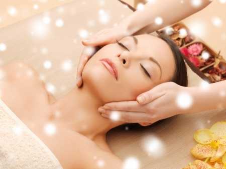 Photo for health and beauty concept - woman in spa salon lying on the massage desk - Royalty Free Image
