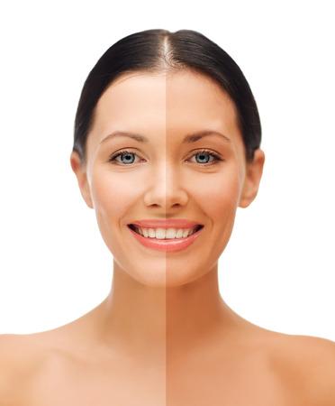 Foto de beauty and health concept - beautiful woman with half face tanned - Imagen libre de derechos