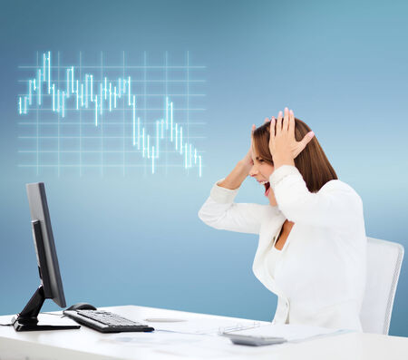 Foto de business, office, problem, money and stress concept - stressed businesswoman with computer at work - Imagen libre de derechos