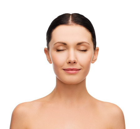 Photo pour health, spa and beauty concept - clean face of beautiful young woman with closed eyes - image libre de droit