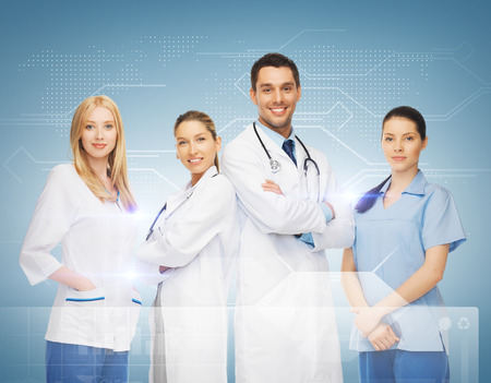Foto de healthcare and medicine concept - young team or group of doctors - Imagen libre de derechos