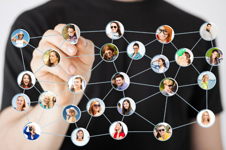 Photo pour communication and networking concept - closeup of man drawing social network on virtual scneen - image libre de droit