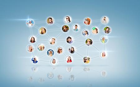 Foto de business and networking concept - social network with men and women - Imagen libre de derechos