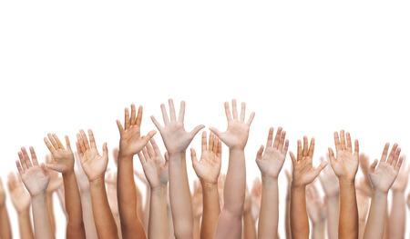 Photo pour gesture and body parts concept - human hands waving hands - image libre de droit