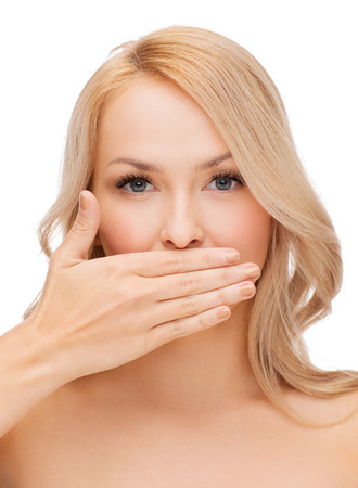 Photo for spa, health and beauty concept - beautiful woman covering her mouth - Royalty Free Image