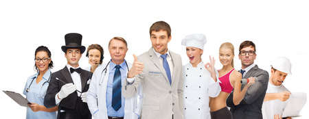 Foto de professions and people concept - group of people including businessmen, doctor, nurse, magician, helpline operator, cook, personal trainer - Imagen libre de derechos
