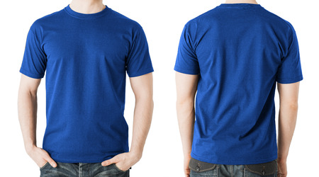 Photo for clothing design concept - man in blank blue t-shirt, front and back view - Royalty Free Image