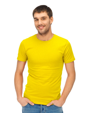 Photo for clothing design and hapy people concept - handsome man in blank yellow shirt - Royalty Free Image