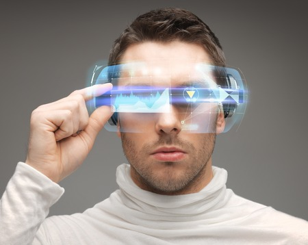 Photo pour future, technology and people concept - man in futuristic glasses - image libre de droit