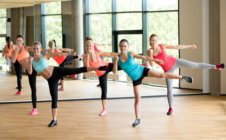 Photo for fitness, sport, training, gym and lifestyle concept - group of women working out in gym - Royalty Free Image