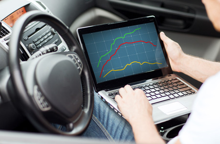 Photo for transportation, technology, people and vehicle concept - close up of man using laptop computer in car - Royalty Free Image