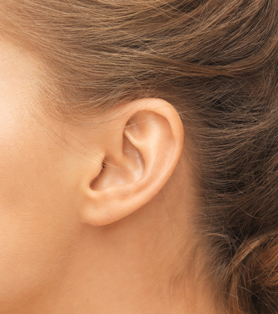 Photo pour hearing, health, beauty and piercing concept - close up of woman's ear - image libre de droit