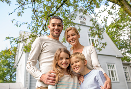 Foto für family, happiness, generation, home and people concept - happy family standing in front of house outdoors - Lizenzfreies Bild