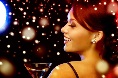 Photo for luxury, vip, nightlife, party, christmas, x-mas, new year's eve concept - beautiful woman in evening dress with cocktail - Royalty Free Image