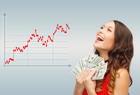 Photo pour business, people and money concept - smiling businesswoman with dollar cash money over gray and forex graph going up - image libre de droit