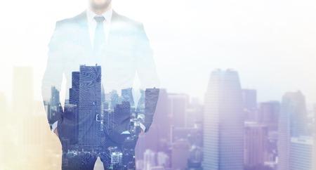 Foto de business, people and technology concept - close up of businessman over city background - Imagen libre de derechos