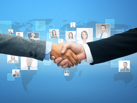 Photo for business and office concept - businessman and businesswoman shaking hands - Royalty Free Image