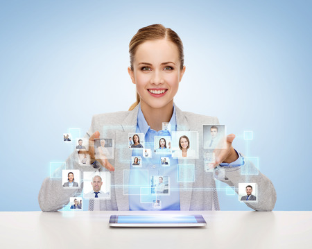 Photo pour business, technology, cooperation, people and hiring concept - smiling businesswoman with tablet pc computer over blue background with icons of contacts - image libre de droit