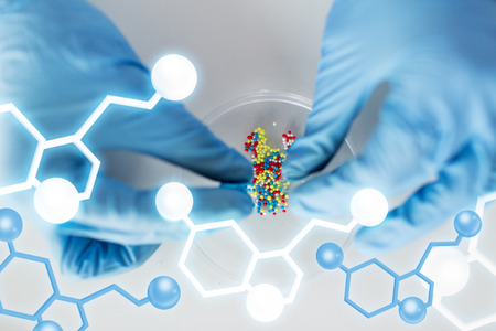 Foto de science, chemistry, biology, medicine and people concept - close up of scientist or doctor hands holding and pouring pill content into petri dish in laboratory with molecular structure - Imagen libre de derechos