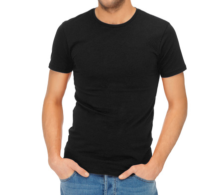 Photo pour clothing design concept - handsome man in blank black t-shirt - image libre de droit