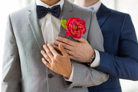 Photo pour people, homosexuality, same-sex marriage and love concept - close up of happy married male gay couple in suits with buttonholes and bow-ties on wedding - image libre de droit