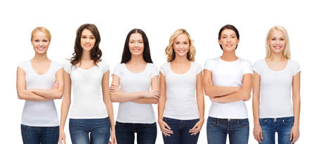 Photo for clothing design and people unity concept - group of happy smiling women in blank white t-shirts and jeans - Royalty Free Image