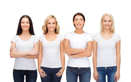 Photo pour clothing design and people unity concept - group of happy smiling women in blank white t-shirts and jeans - image libre de droit