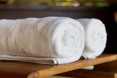 Photo for luxury and hygiene concept - rolled bath towels at hotel spa - Royalty Free Image