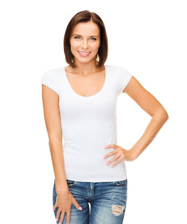 Photo for t-shirt design concept - smiling woman in blank white t-shirt - Royalty Free Image