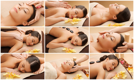 Photo pour beauty, healthy lifestyle and relaxation concept - collage of many pictures with beautiful asian woman having facial or body massage in spa salon - image libre de droit