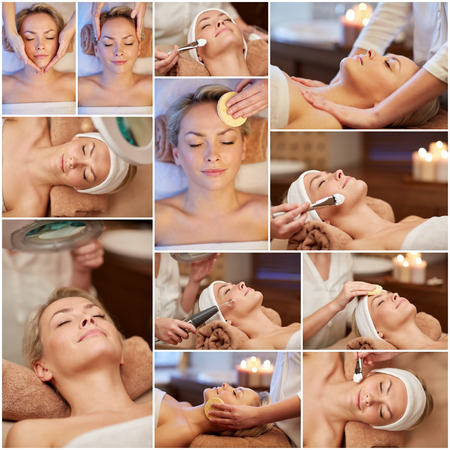 Foto de beauty, healthy lifestyle and relaxation concept - collage of many pictures with beautiful young woman having facial massage and treatments by cosmetologist at spa salon - Imagen libre de derechos
