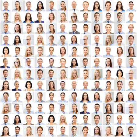Photo pour success concept - collage with many business people portraits - image libre de droit