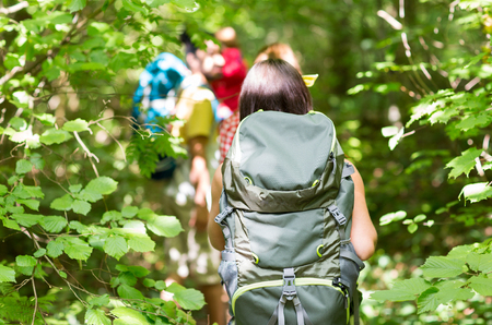Foto de adventure, travel, tourism, hike and people concept - close up of friends walking with backpacks in woods from back - Imagen libre de derechos