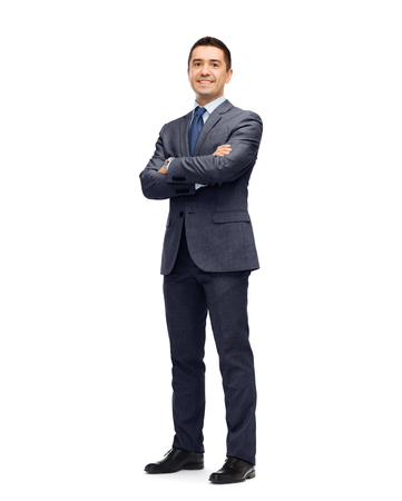 Photo pour business, people and office concept - happy smiling businessman in dark grey suit - image libre de droit