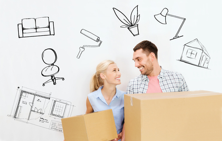 Photo for home, people, repair and real estate concept - happy couple holding cardboard boxes and moving to new place over interior doodles background - Royalty Free Image