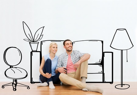 Photo pour people, repair, moving in, interior and real estate concept - happy couple of man and woman sitting on floor at new home over furniture cartoon or sketch background - image libre de droit