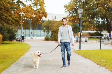 Photo pour family, pet, domestic animal, season and people concept - happy man with labrador retriever dog walking in autumn city park - image libre de droit