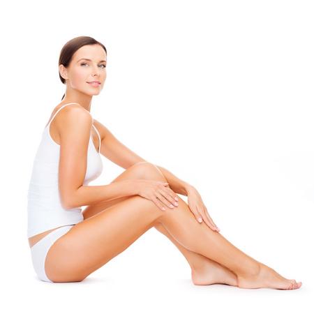 Photo pour health and beauty concept - beautiful woman in white cotton underwear - image libre de droit
