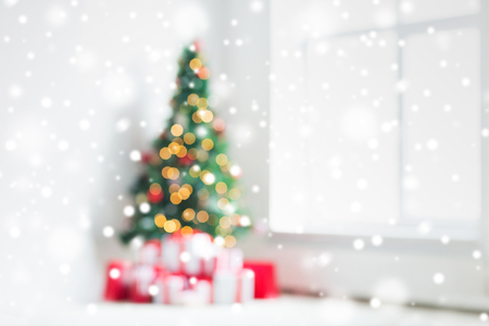 Photo for holidays, celebration and home concept - living room with christmas tree and presents background - Royalty Free Image