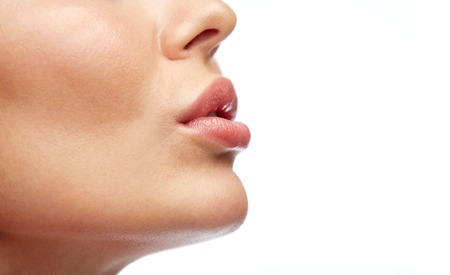 Photo pour beauty, people, make-up and plastic surgery concept - close up of young woman lips - image libre de droit