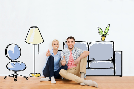 Photo pour people, repair, moving in, interior and real estate concept - happy couple sitting on floor and showing thumbs up at new home over furniture cartoon or sketch background - image libre de droit