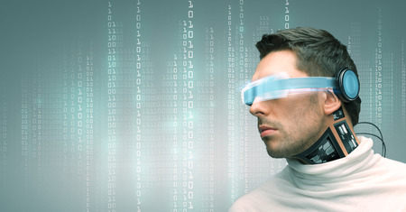 Photo pour people, technology, future and progress - man with futuristic glasses and microchip implant or sensors over green background over binary system code - image libre de droit