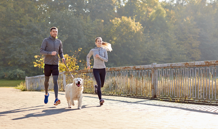 Foto de fitness, sport, people and lifestyle concept - happy couple with dog running outdoors - Imagen libre de derechos