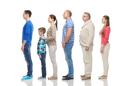Photo for family, gender, high and people concept - group of men and women from side - Royalty Free Image