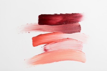 Photo pour cosmetics, makeup and beauty concept - close up of lipstick smear sample - image libre de droit