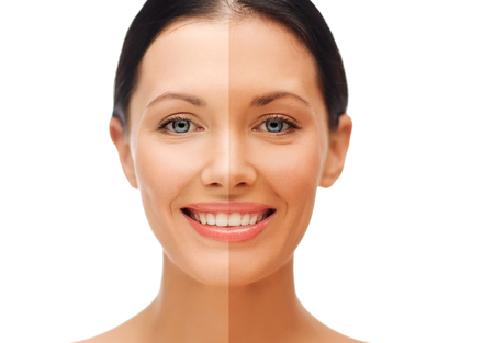 Foto de beauty and health concept - beautiful woman with half face tanned - Imagen libre de derechos